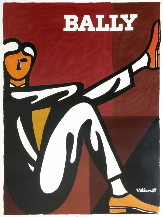 Bally Man Red & Brown Villemot 1986 Original Vintage Poster