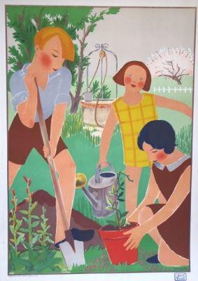 L' Art L'Ecole Gardening Art Deco Original Vintage Poster