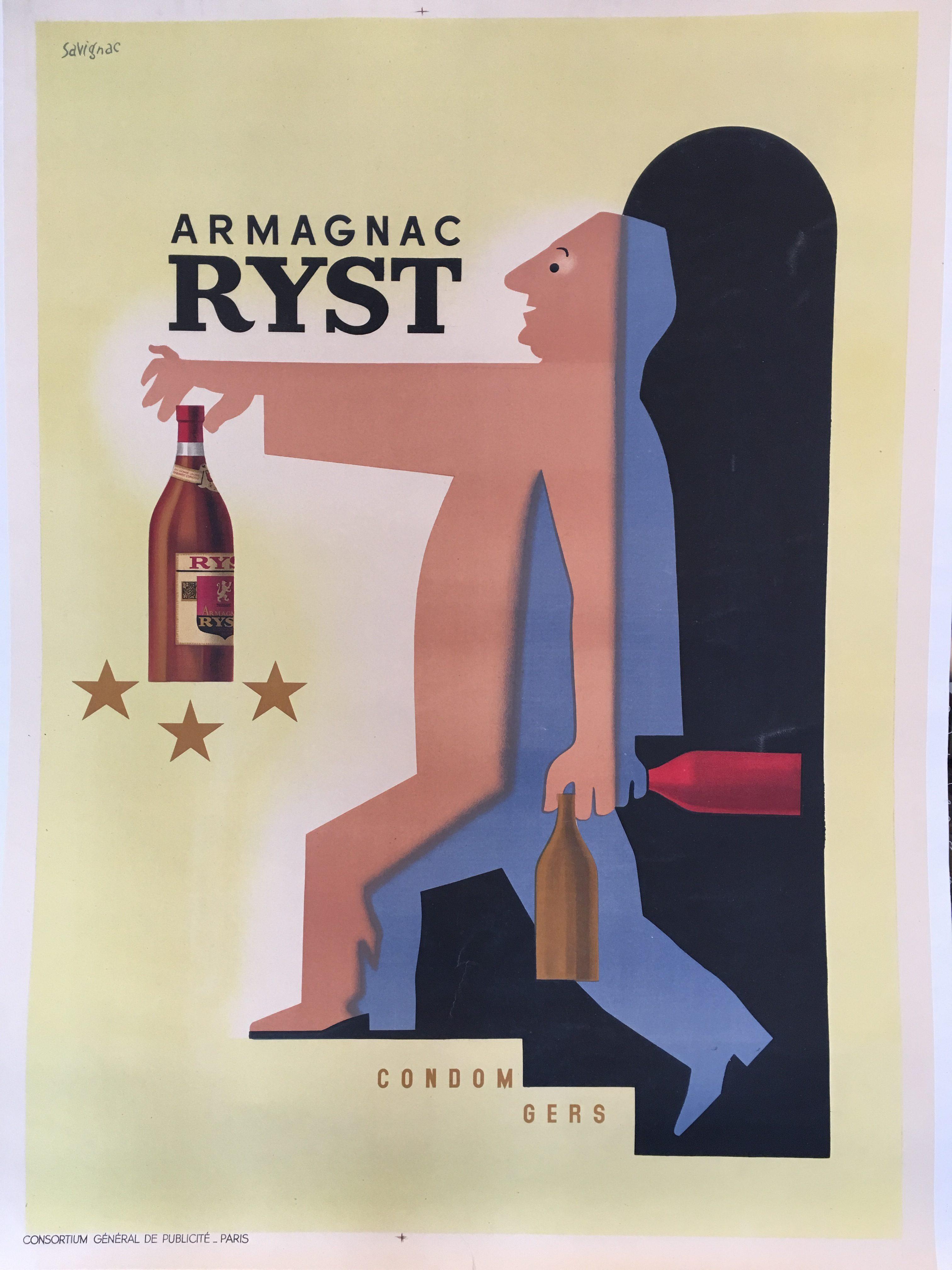Armagnac Ryst by Savignac Original Vintage Poster