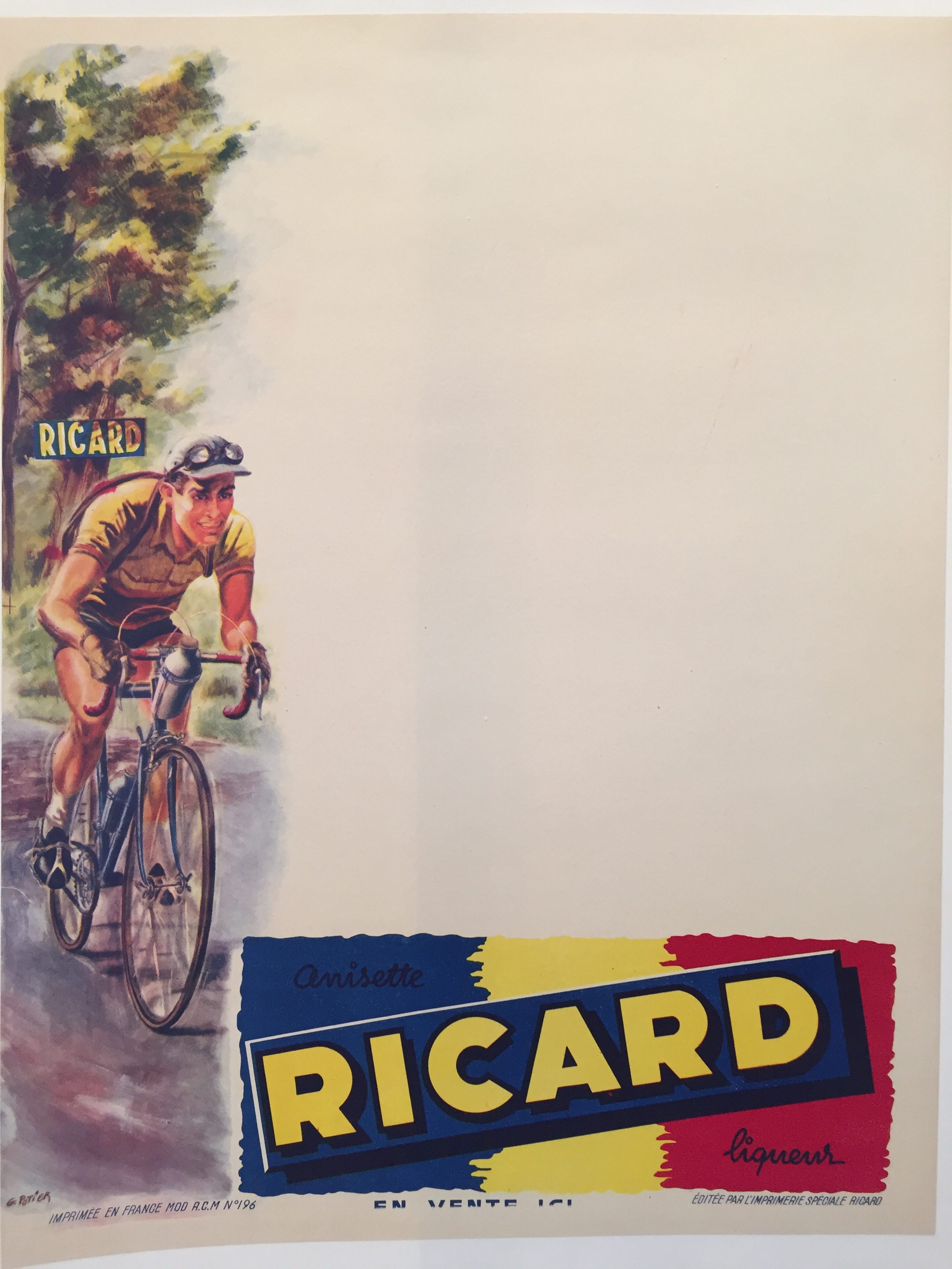 Ricard cycling bike vintage poster original