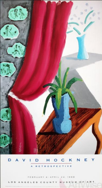 Still Life with Magenta Curtain David Hockney 1988 Original Vintage Poster