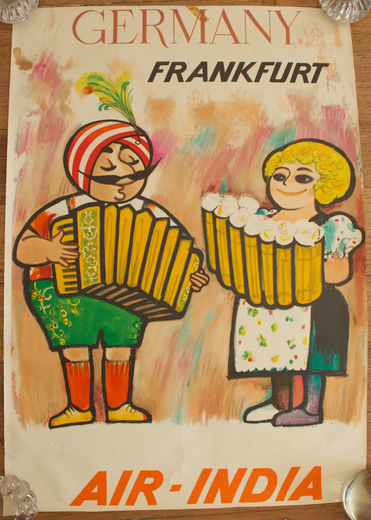 Original Vintage Poster Air India Frankfurt