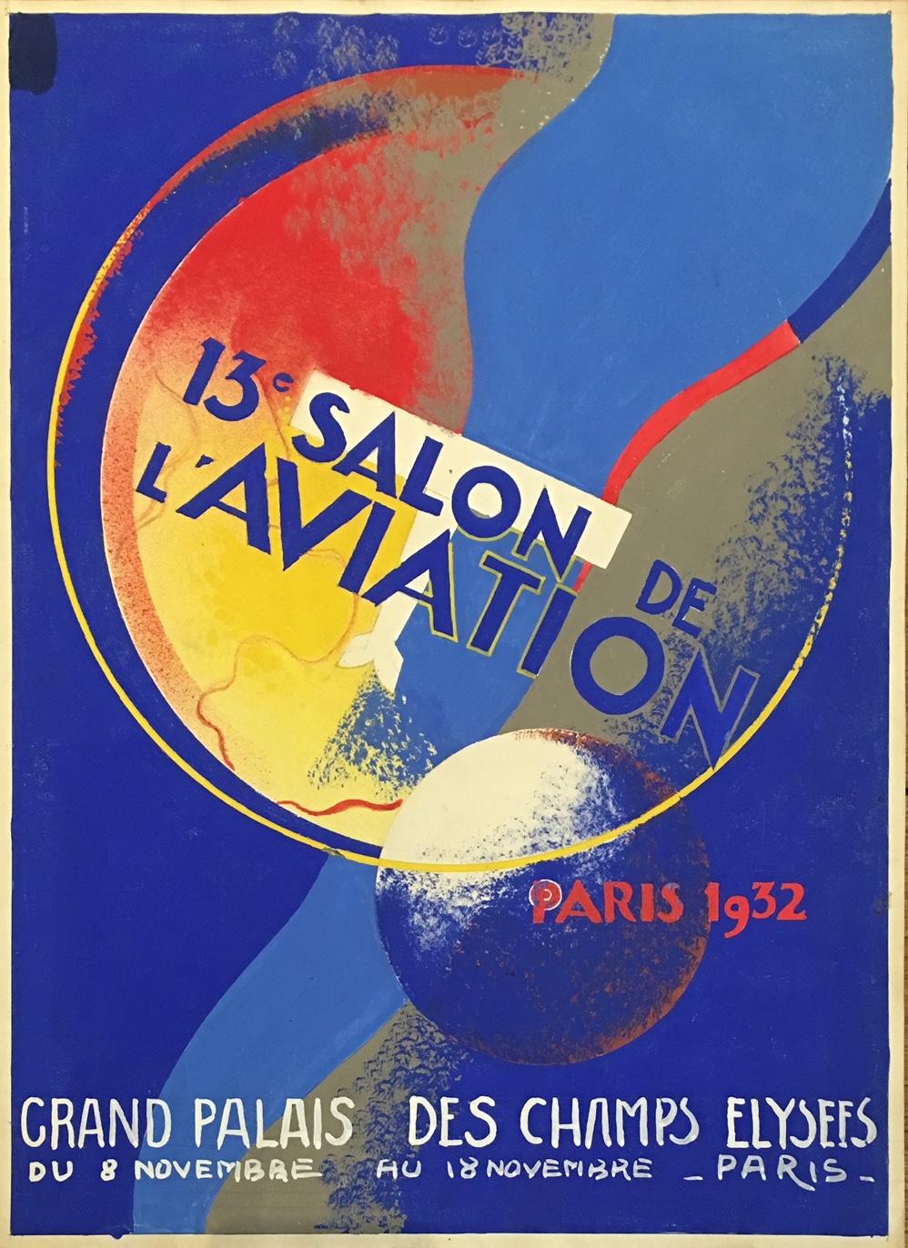 Salon De L'aviation Paris 1932 Original Vintage Poster