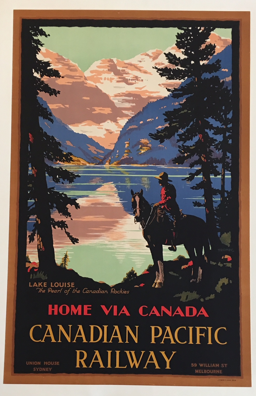 Home Via Canada Canadian Pacific Railway Original Vintage Poster