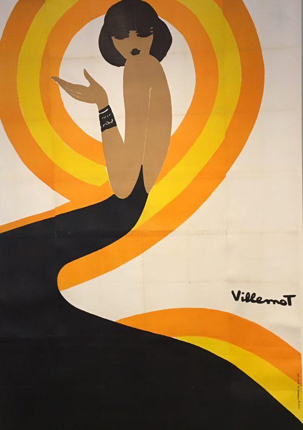 Villemot Spirale Orange Oversize Original Vintage Poster