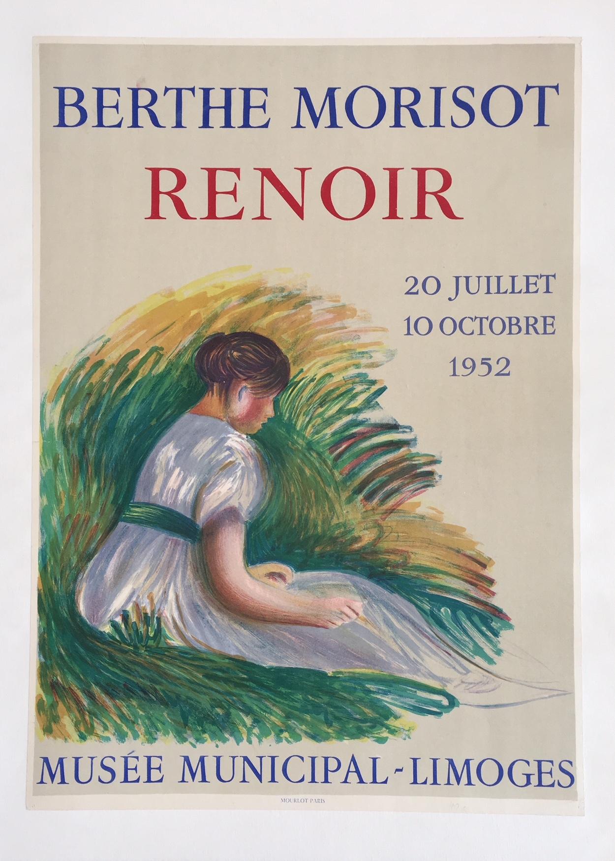 Renoir Berthe Morisot Original Vintage Poster 1952