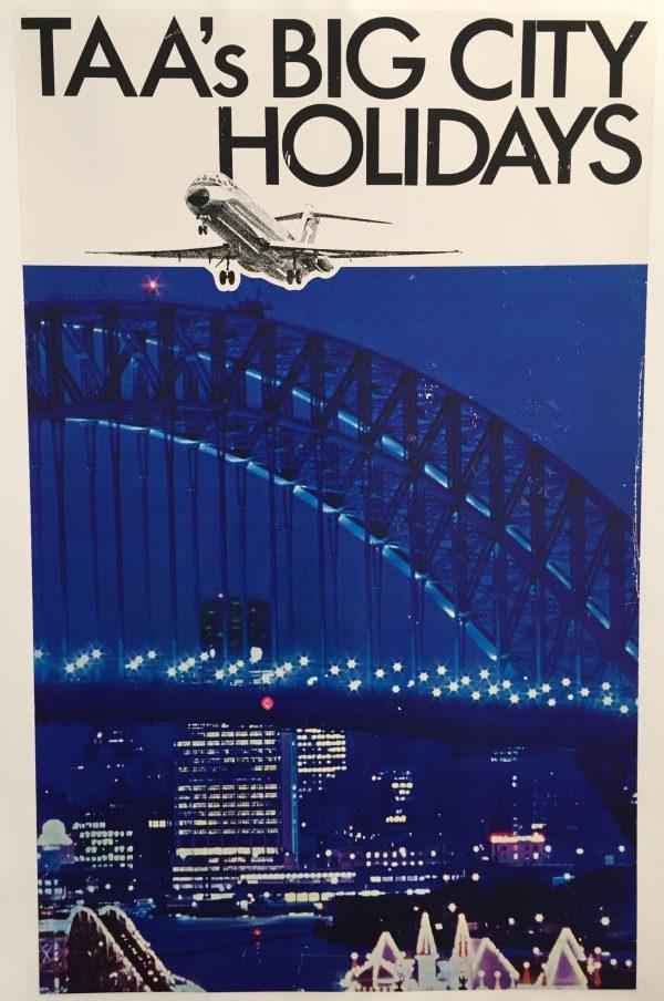 TAA's Big City Holidays Original Vintage Travel Poster