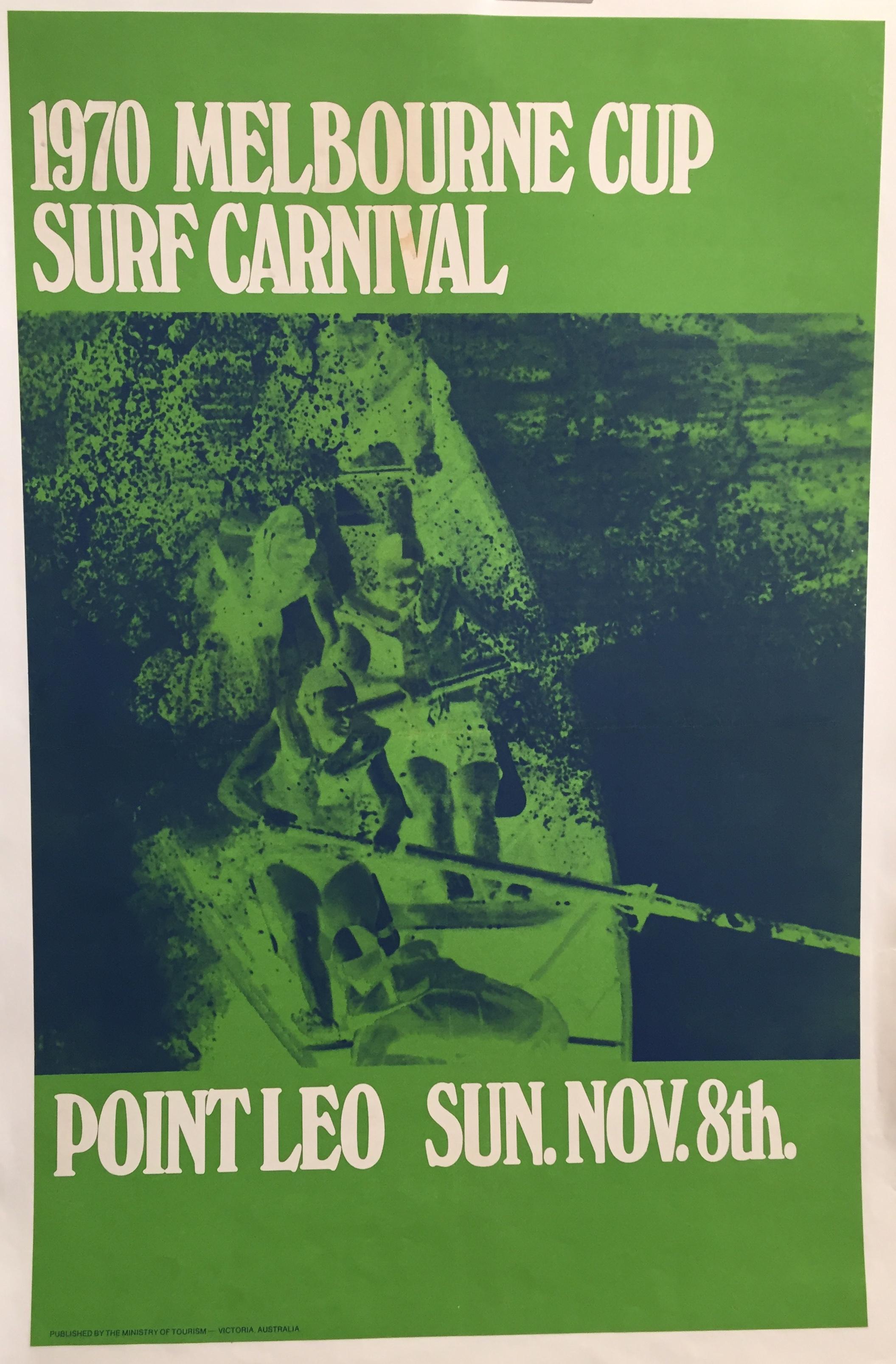 1970 Melbourne Cup Surf Carnival Original Vintage Poster