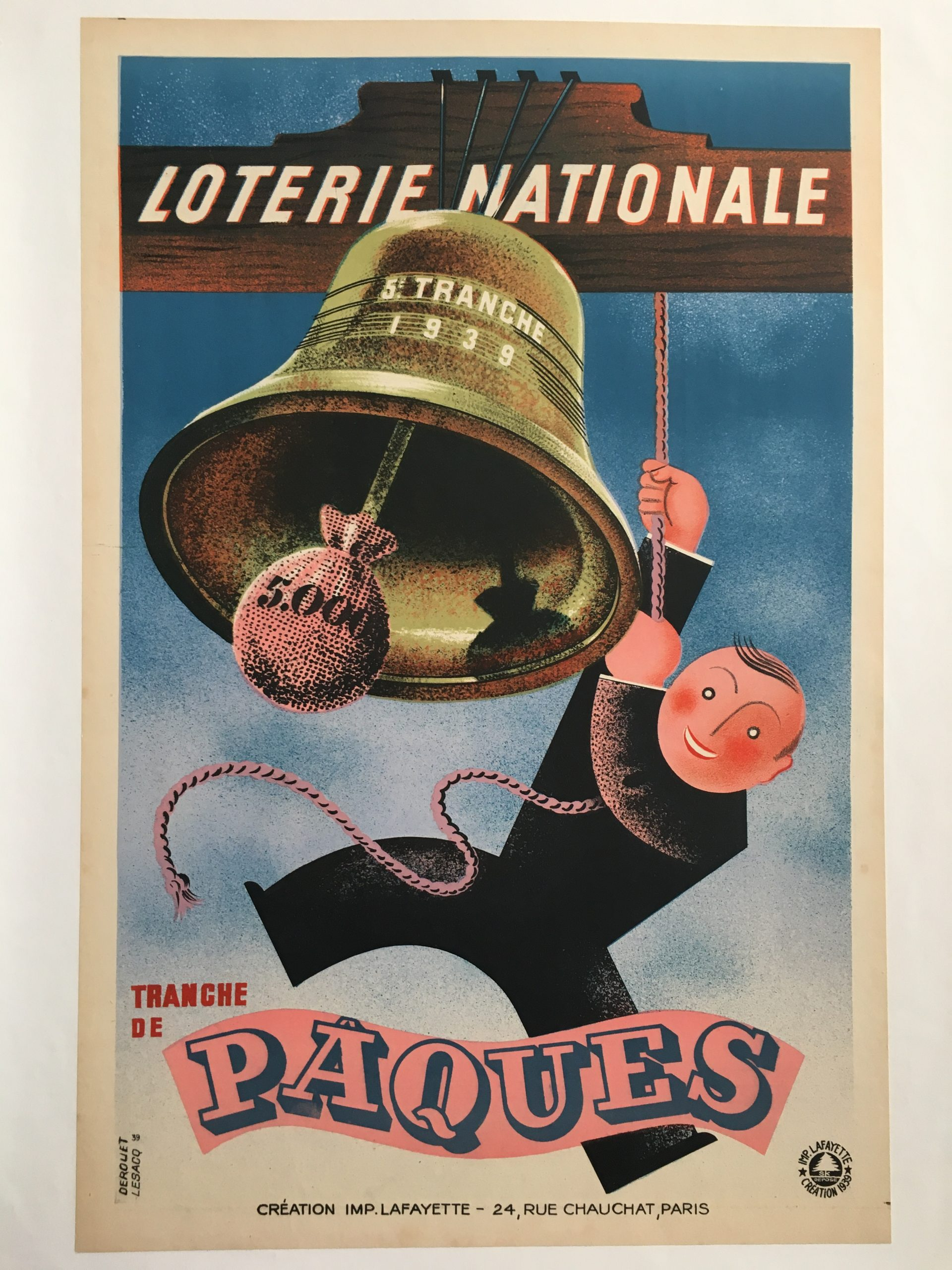 Loterie Nationale Tranche de Paques Original Vintage Poster