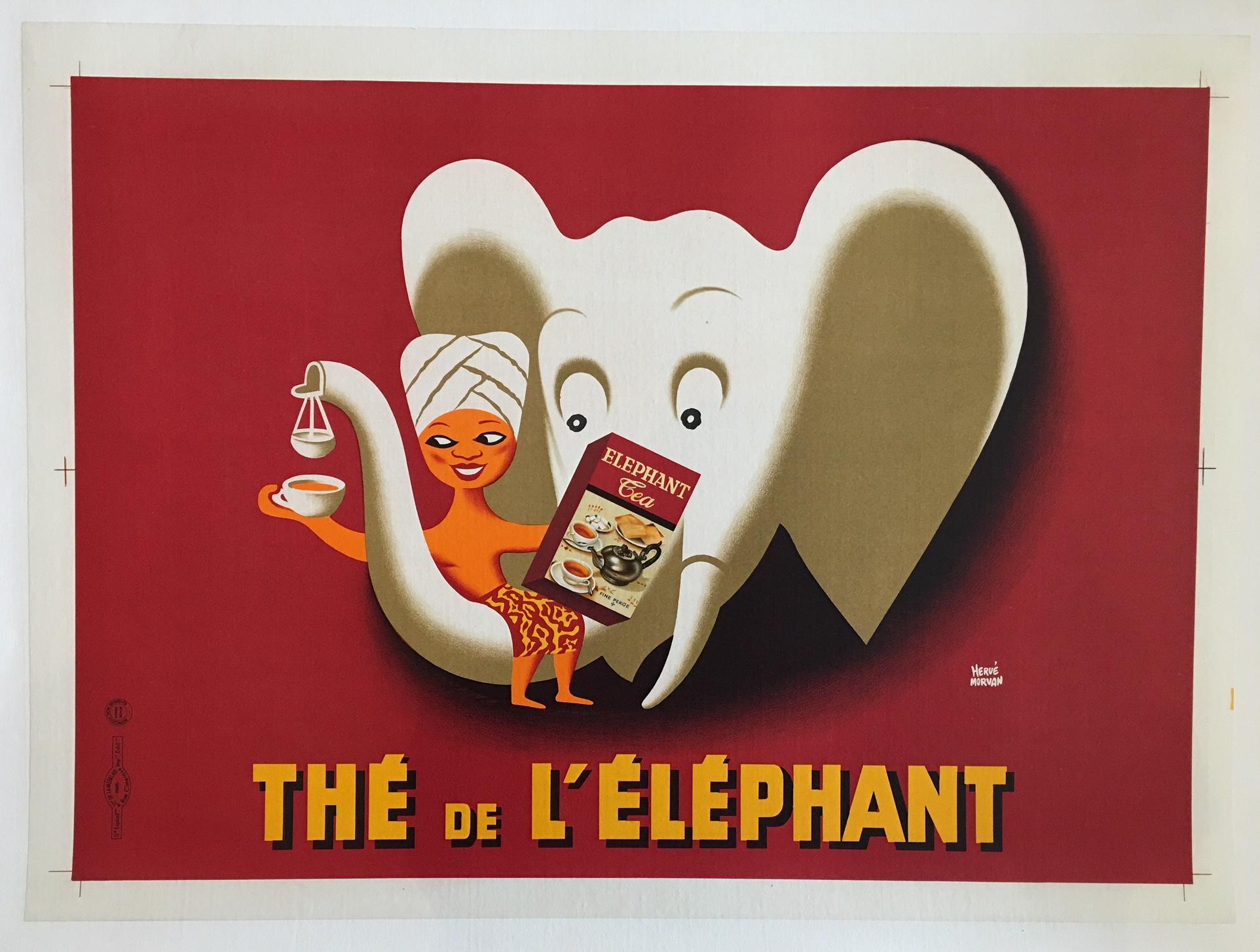 The de L'e'ephant by Herve Morvan Original Vintage Poster