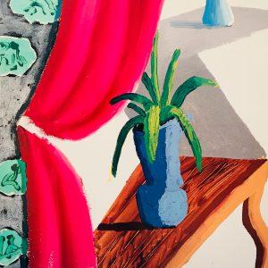 Still Life with Magenta Curtain David Hockney 1988
