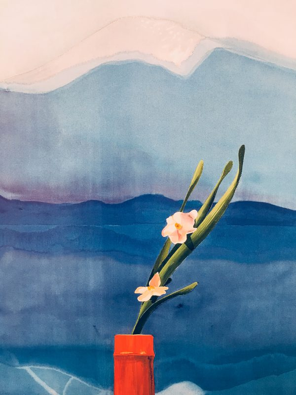 David Hockney Mount Fuji with Flowers Original Vintage Poster
