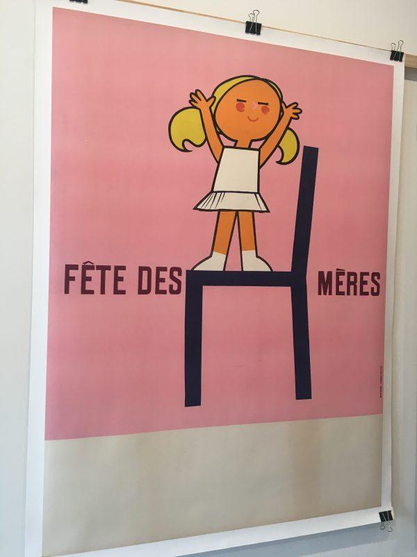 Fête de Mères Pink Girl Original Vintage Poster Melbourne
