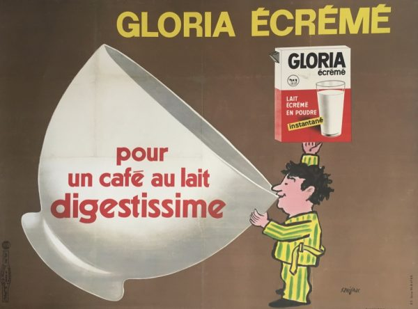 Original Vintage Poster Raymond Savignac Gloria Ecreme 1967