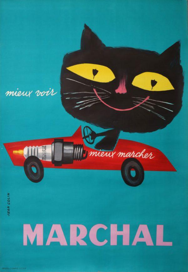 MARCHAL car ORIGINAL vintage poster Jean Colin