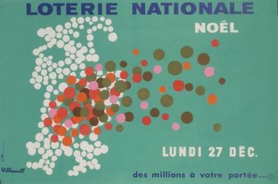 Villemot Loterie Nationale Noel Original Vintage Poster