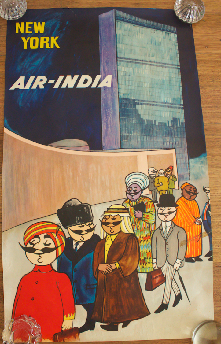 Original Vintage Poster Air India New York