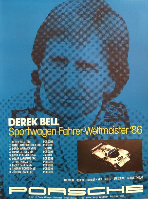 Derek Bell Sportwagen Porsche 1986 Original Vintage Poster