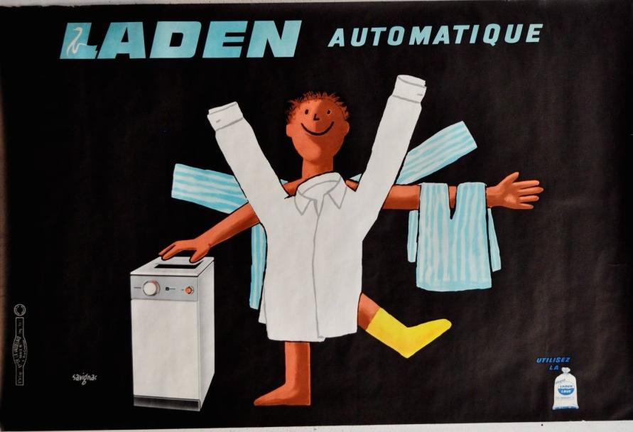 Savignac Laden Automatique Savignac Original Vintage Poster Oversize