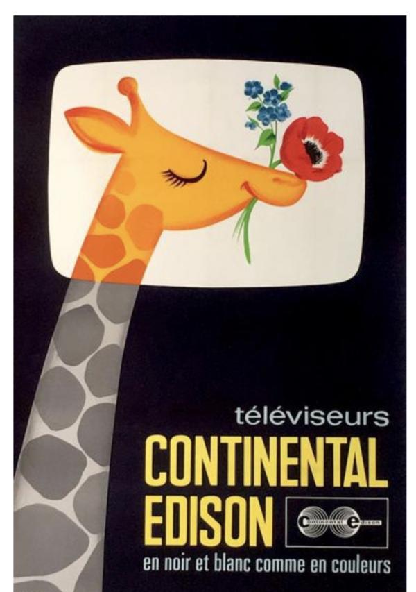 TELÉVISEURS CONTINENTAL EDISON Original Vintage Poster