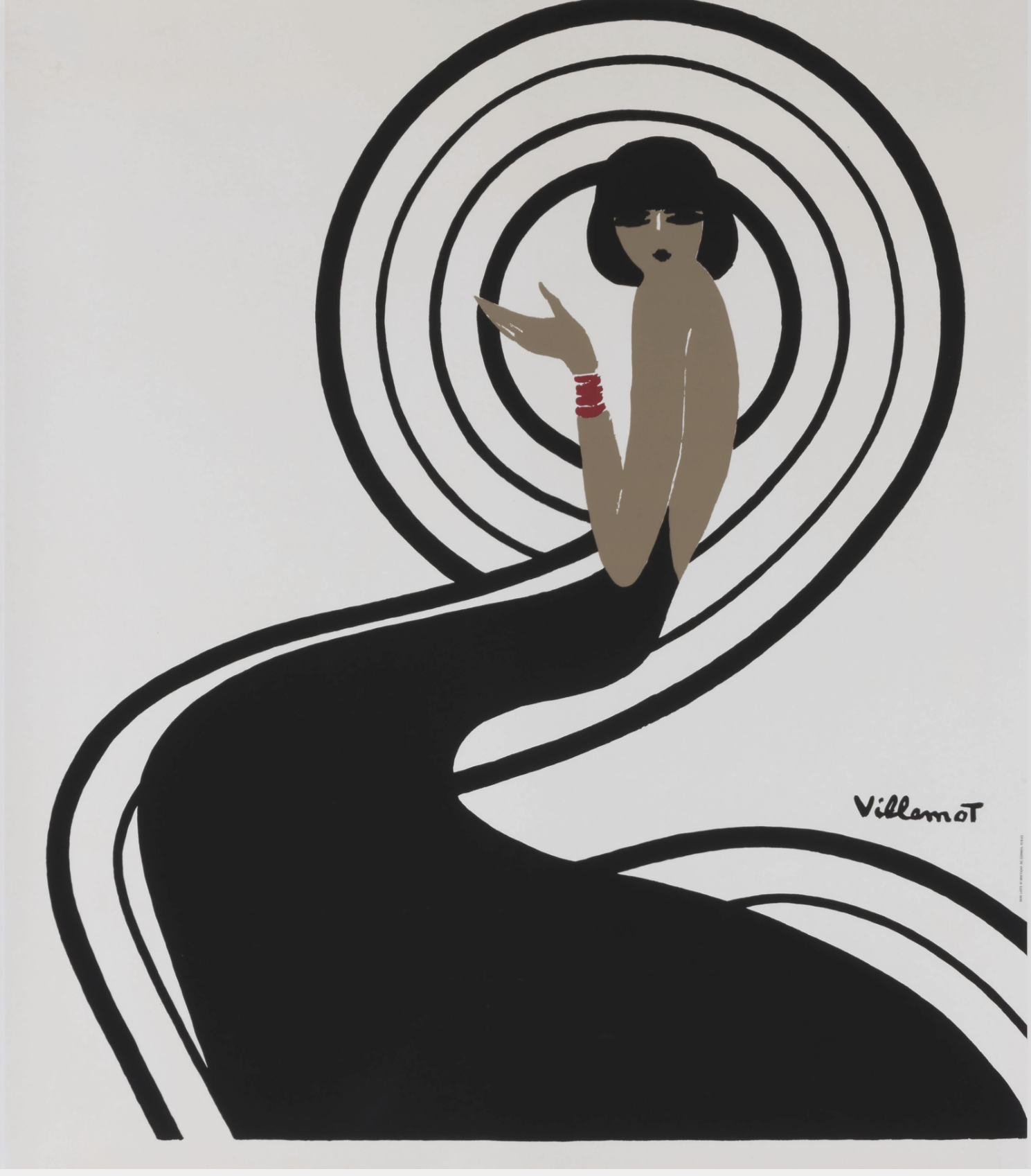 Villemot Spirale Black Dress Original Vintage Poster