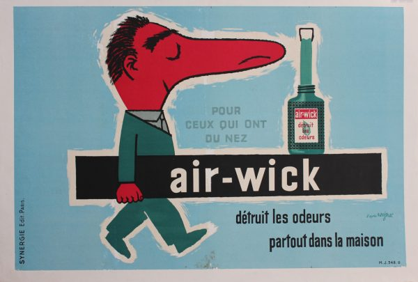 Raymond Savignac Air Wick Detruit Les Odeurs Original Vintage Poster