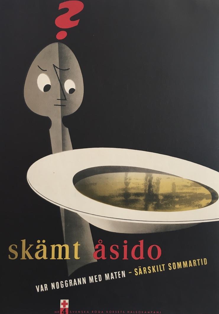 Skamt Asido 1954 Spoon Original Vintage Poster