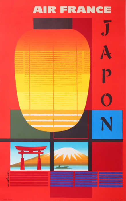 Villemot Air France Japon / Japan 1963 Original Vintage Poster