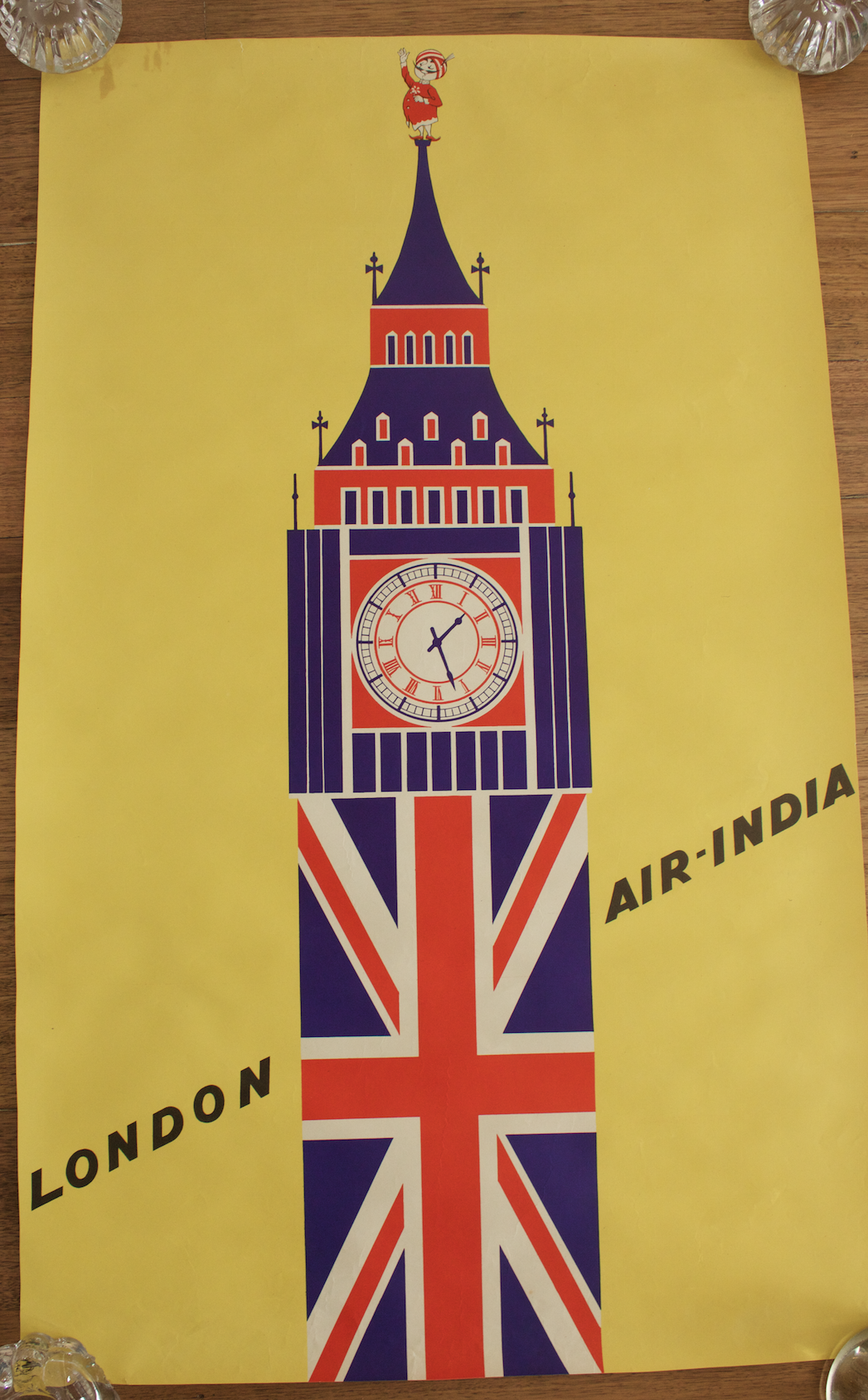 Original Vintage Poster Air India London