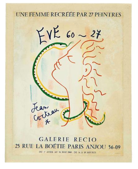 Jean Cocteau Galerie Recio Original Vintage Poster