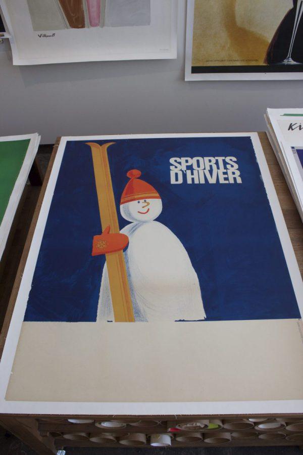 Sports D'hiver Snowman Original vintage poster