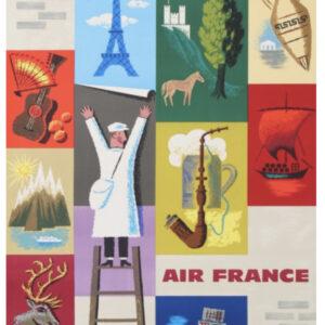Europe for Air France Original Vintage Potser
