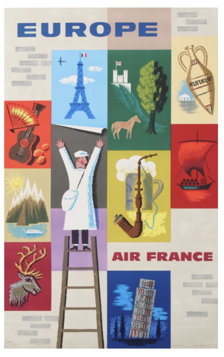 Europe for Air France Original Vintage Potser