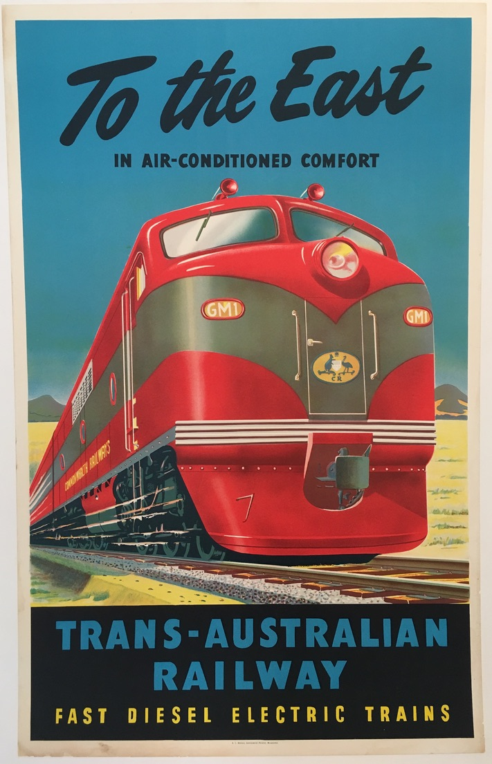 Trans-Australian Railway To the East Original Vintage Poster