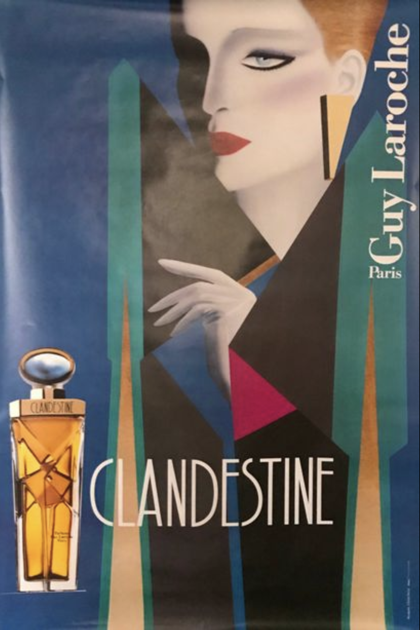 'Clandestine' Guy Laroche Paris Original Vintage Poster