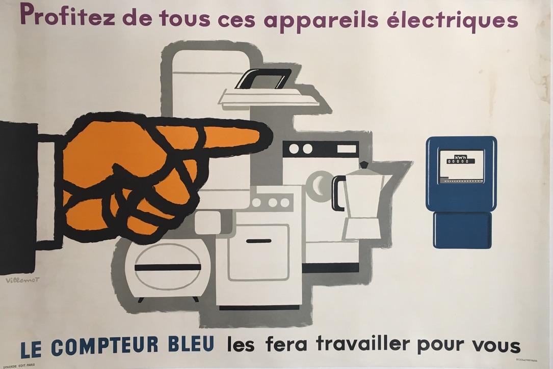 Villemot Le Compteur Bleu Original Vintage Poster