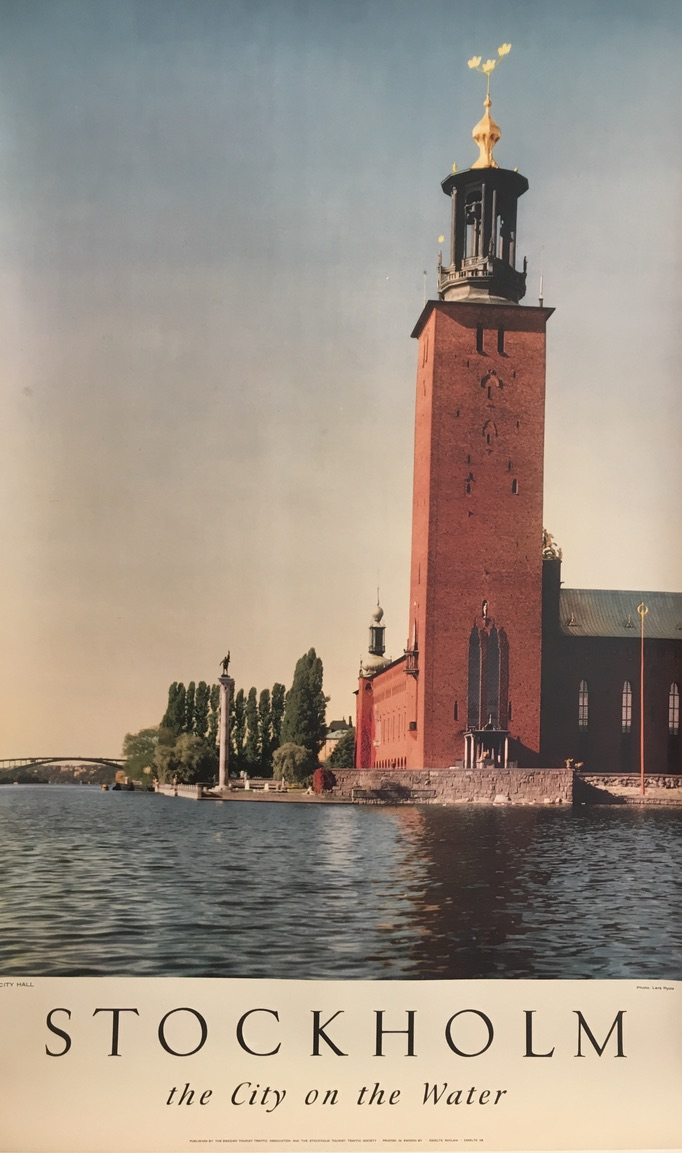 Stockholm the City by the Water Original Vintage Poster