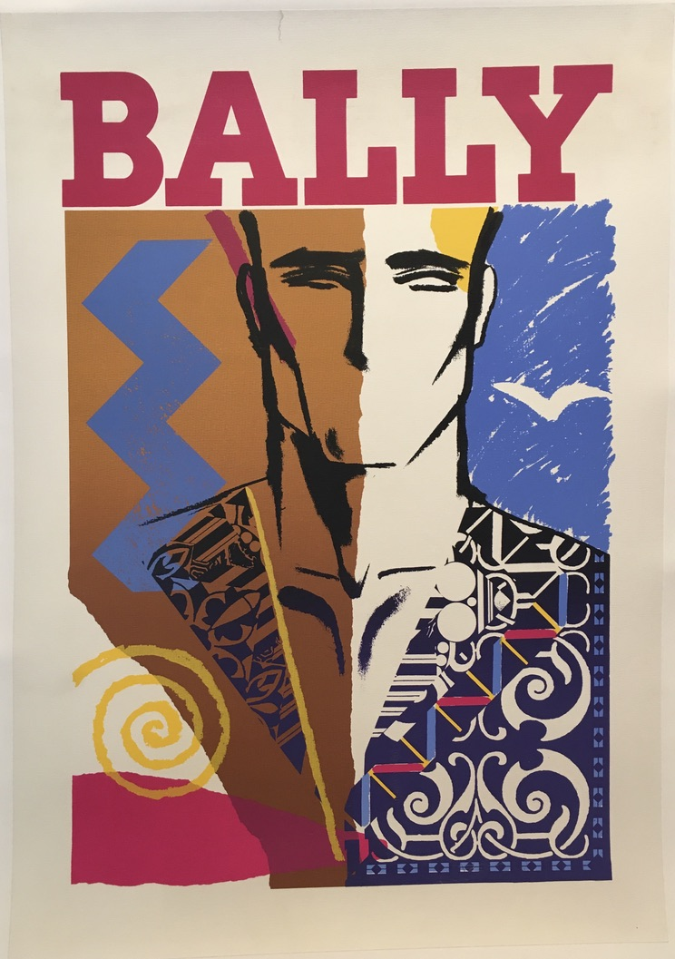 Bally Man Face Mid 1970's Original Vintage Poster