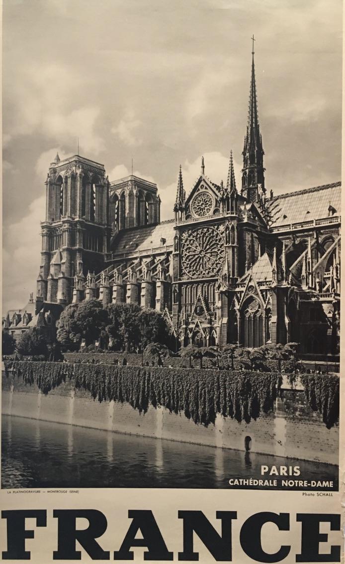 Notre-Dame 'FRANCE' by Schall Original Vintage Poster