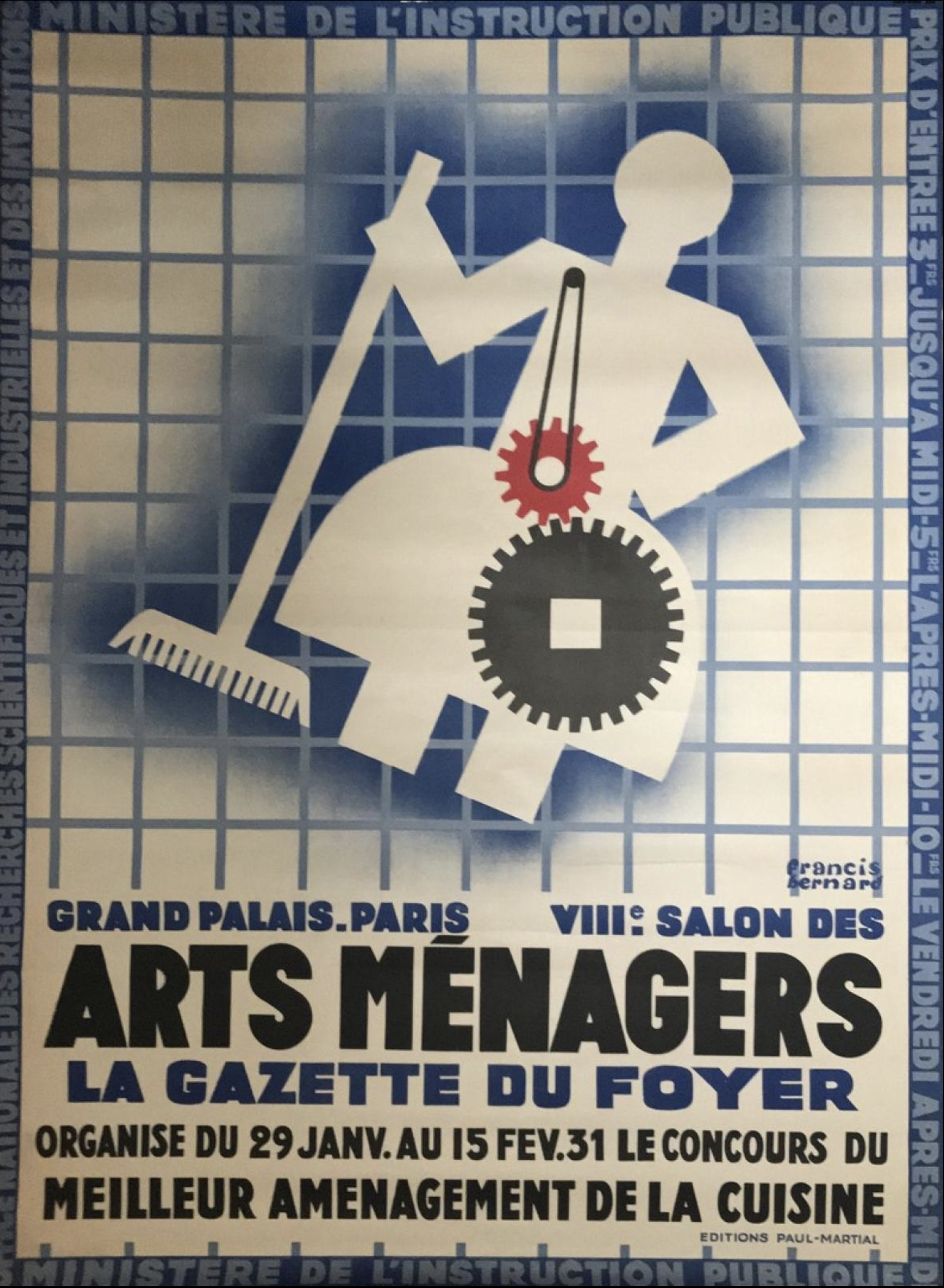 Arts Menagers Grand Palais 1931 by Francis Bernard Original Vintage Poster