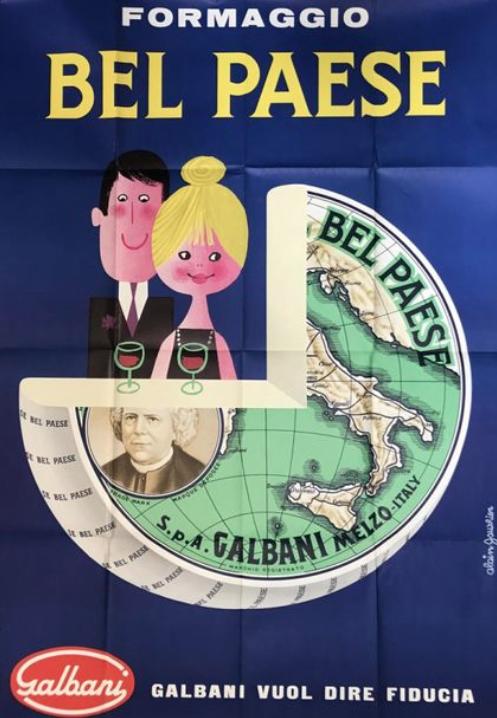 Bel Paese Formaggio Alain Gautier Original Vintage Poster