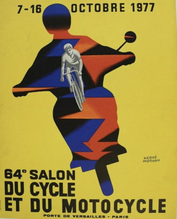 Salon Cycle Motocycle 1977 by Herve Morvan Original Vintage Poster