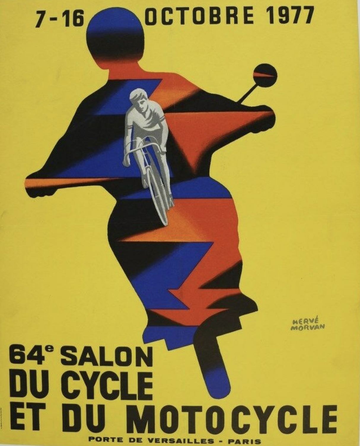 Salon Cycle Motocycle 1977 by Herve Morvan Original Vintage Poster
