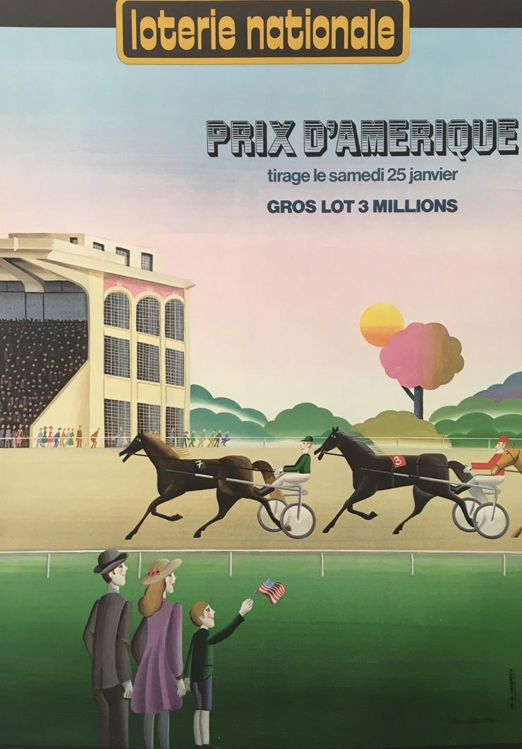 Loterie Nationale Prix D'Amerique Original Vintage Poster