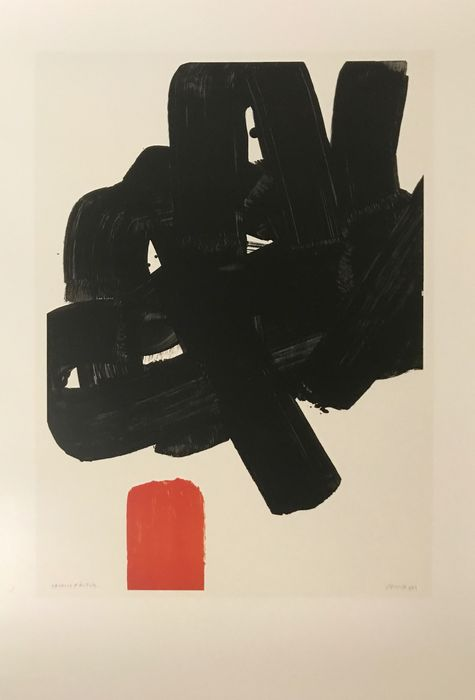 Beautiful original poster by Pierre Soulages, depicting the work lithographie No. 24B of 1969. Published by the Musée Soulages Rodez. In perfect condition.
