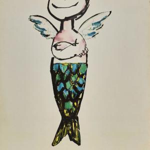 Citroen DS Angel Mermaid Andre Francis Original Vintage Poster