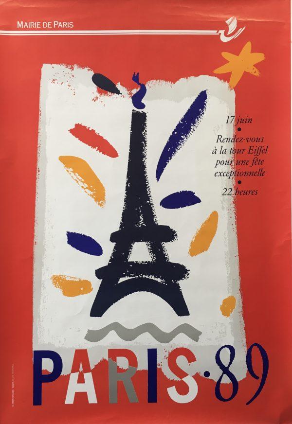 Paris 89 Eiffel Tower Original Vintage Poster