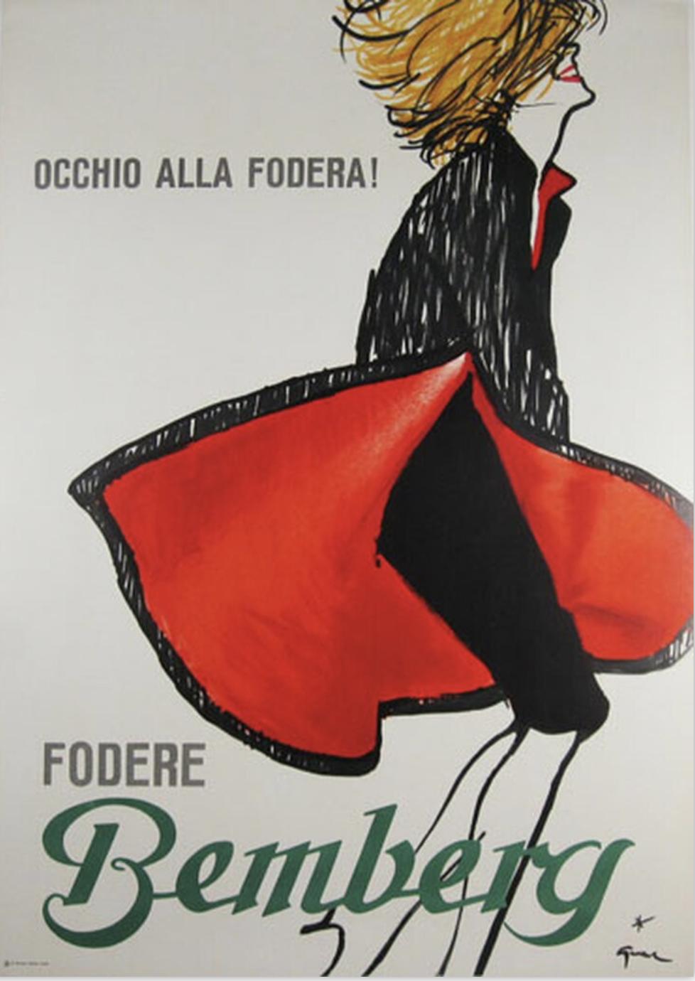 Fodere Bemberg by Gruau Original Vintage Poster