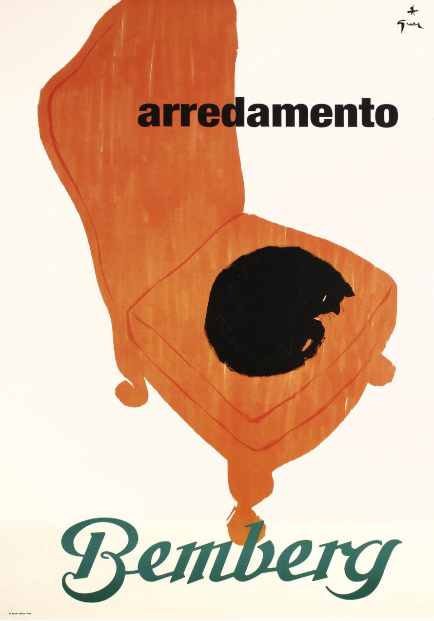 Bemberg Arredamento Rene Gruau Original Vintage Poster