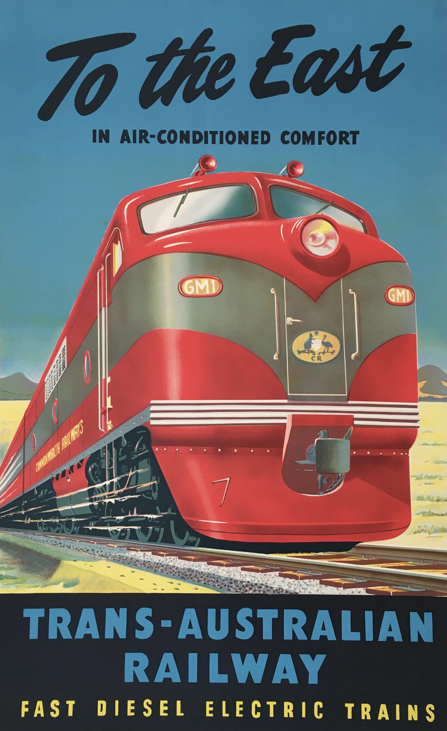 To The East Trans-Australian Railway Original Vintage Poster